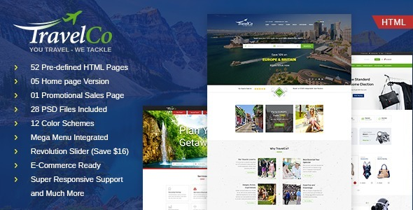 Image of TravelCo: Tourism and Tour booking HTML5 Template