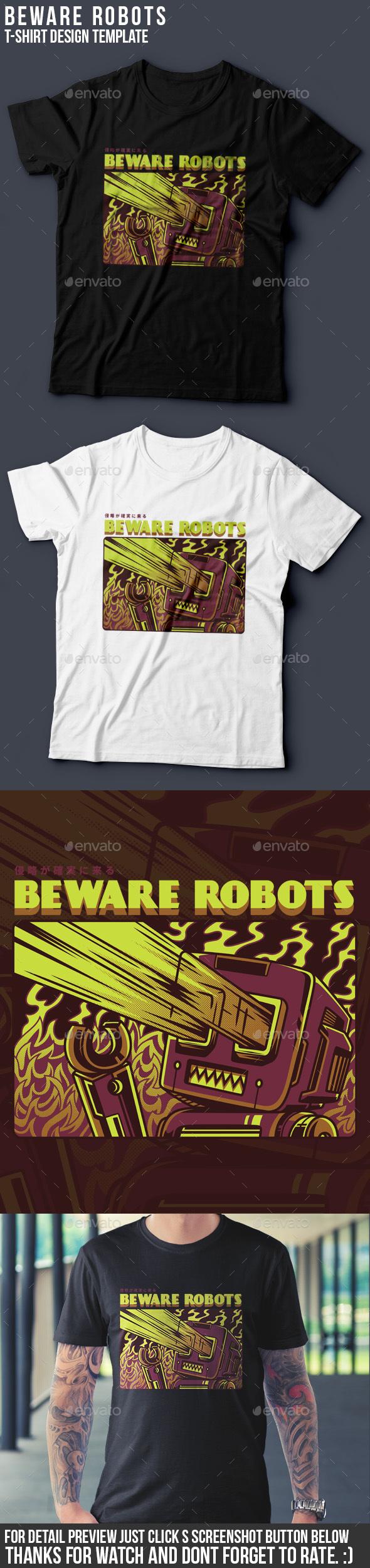 Beware Robots T-Shirt Design - Grunge Designs