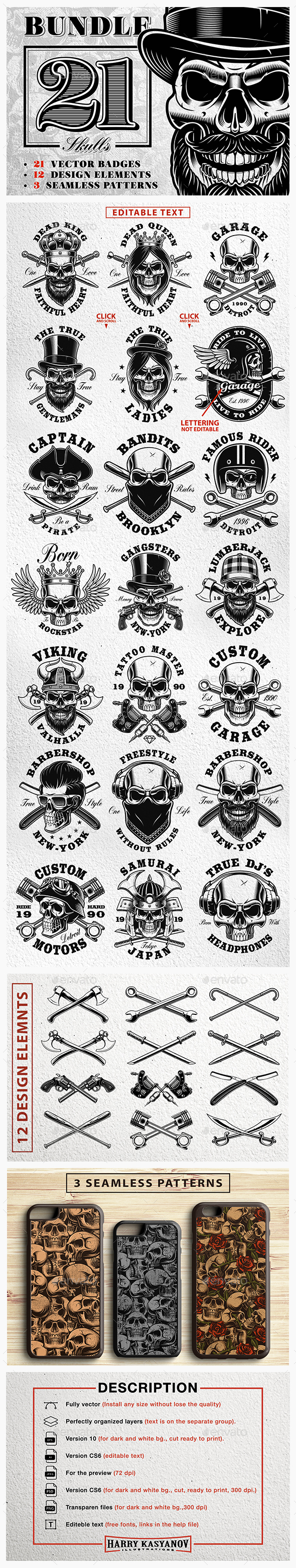 Set of Vintage Skulls. - Miscellaneous Characters