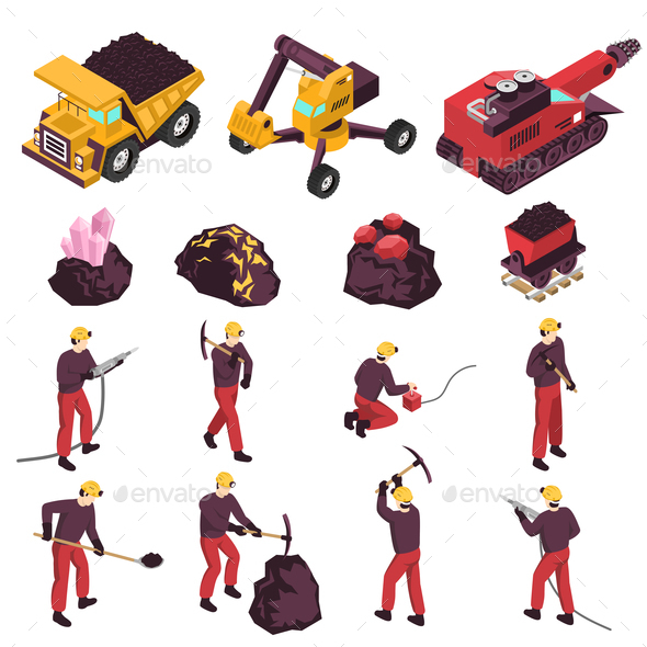 Mining Industry Isometric Icons Set - Business Conceptual