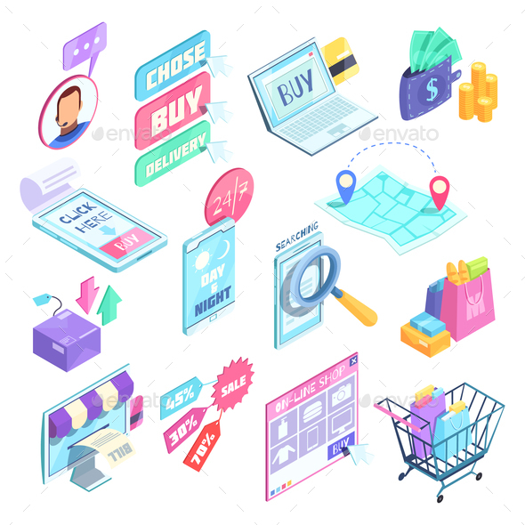 Internet Shopping Isometric Set - Computers Technology