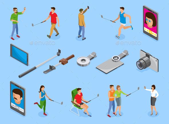 Selfie Isometric Icons Set - Miscellaneous Vectors