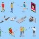 Selfie Isometric Icons Set