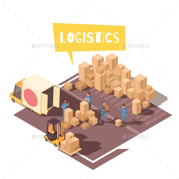 Freight Sorting Isometric Composition - Miscellaneous Vectors