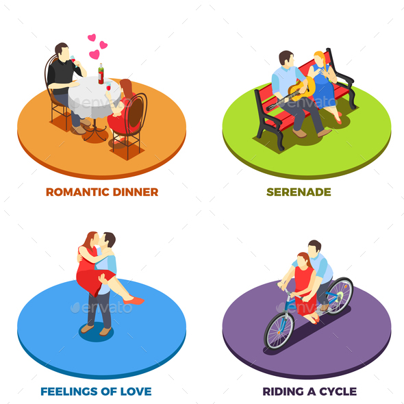 Dating 2x2 Design Concept - People Characters