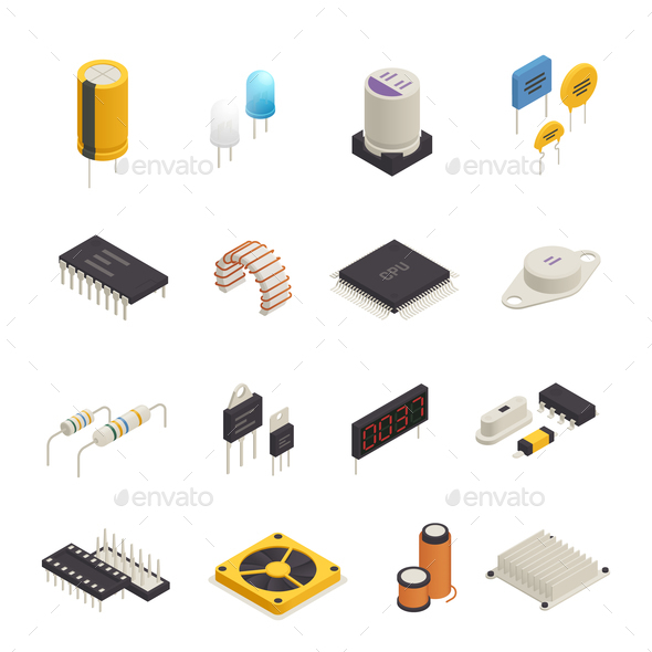 Semiconductor Electronic Components Isometric Set - Industries Business