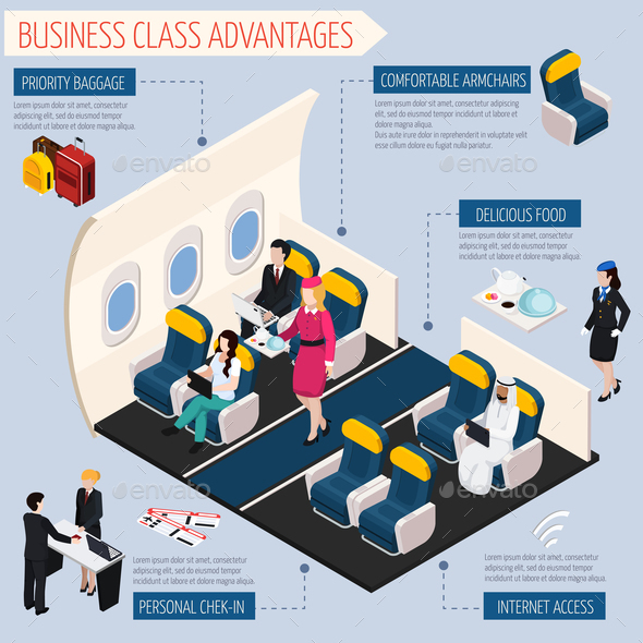 Airplane Passengers Infographic Set - Business Conceptual