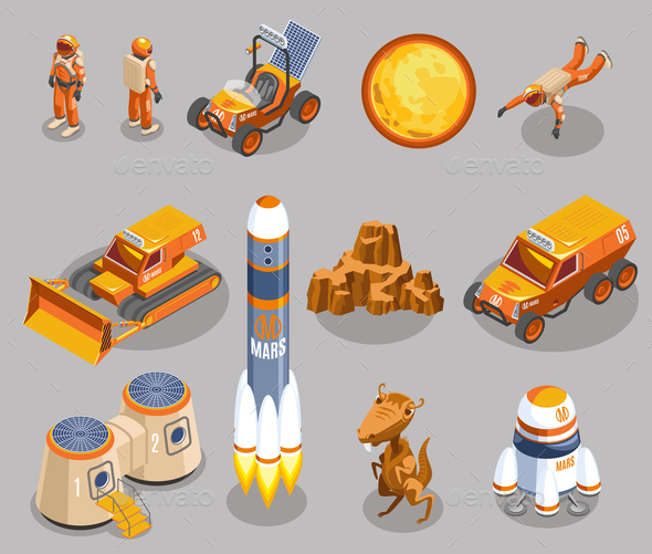 Space Exploration Isometric Icons - People Characters