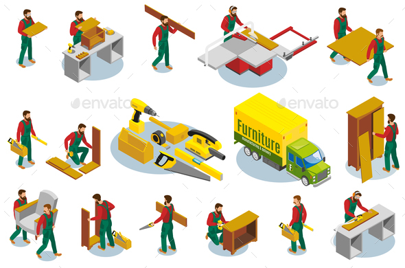 Furniture Makers Isometric Icons - People Characters