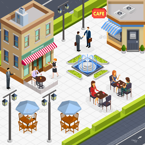 Isometric Business Lunch People Composition - Food Objects