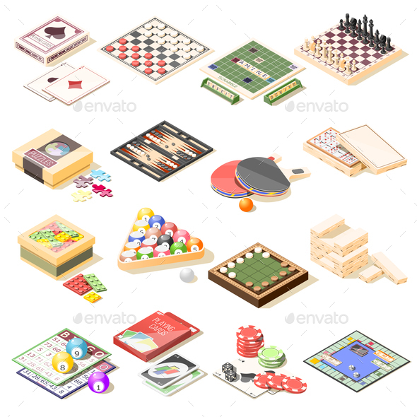 Board Games Isometric Icons Set - Miscellaneous Vectors