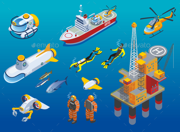 Underwater Depths Research Isometric Icons - Animals Characters