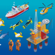 Underwater Depths Research Isometric Icons