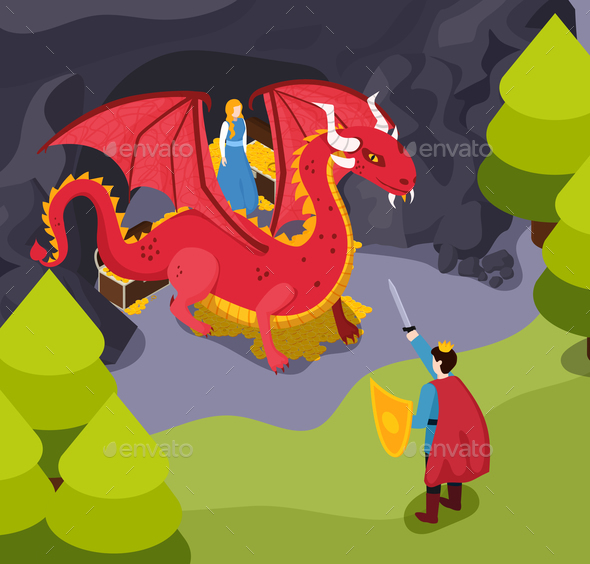 Fabulous Heroes Isometric Composition - Animals Characters