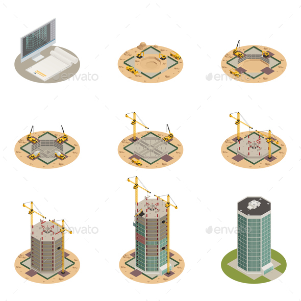 Skyscraper Construction Isometric Set - Buildings Objects