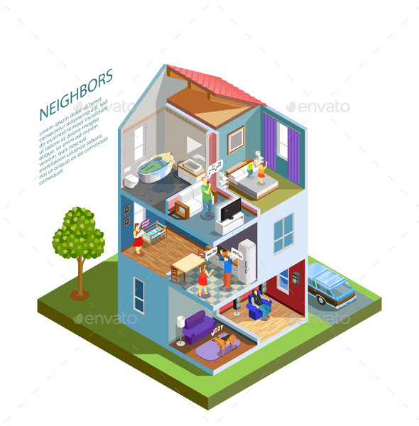 Neighbors Isometric Composition - People Characters