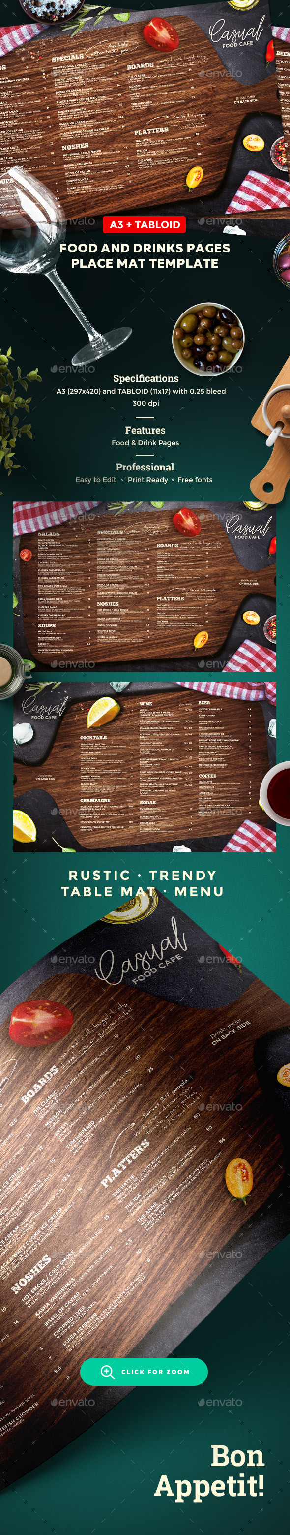 Rustic Menu - Food Menus Print Templates