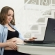 A Pregnant Woman Is Engaged in Business During Maternity Leave. Sitting at the Computer - VideoHive Item for Sale