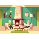 Vector Cartoon Old Man and Woman in Living Room