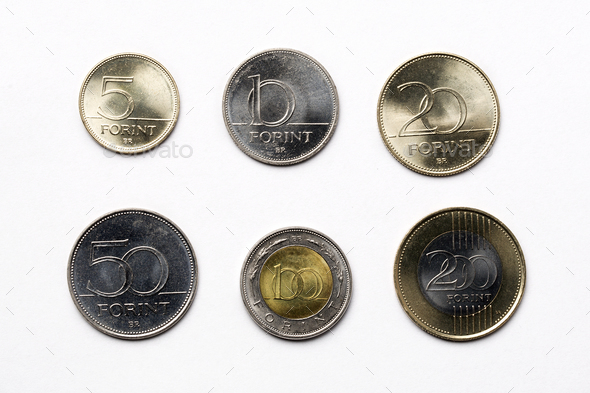 Hungarian coins on a white background  - Stock Photo - Images