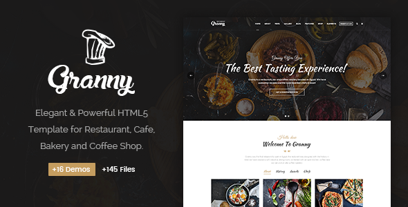 Granny - Elegant Restaurant & Cafe HTML Template - Restaurants & Cafes Entertainment