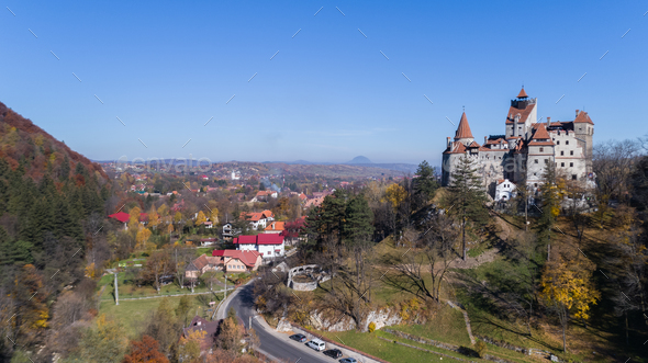 Medieval Bran castle. Brasov Transylvania, Romania - Stock Photo - Images