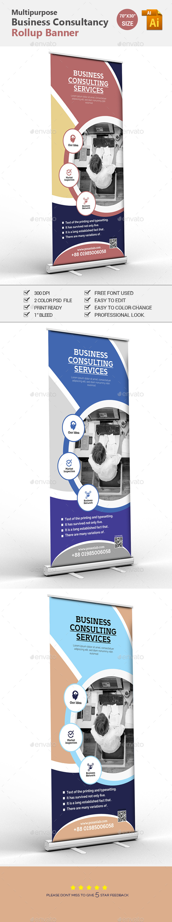 Corporate Professional Roll-up Banner - Corporate Business Cards