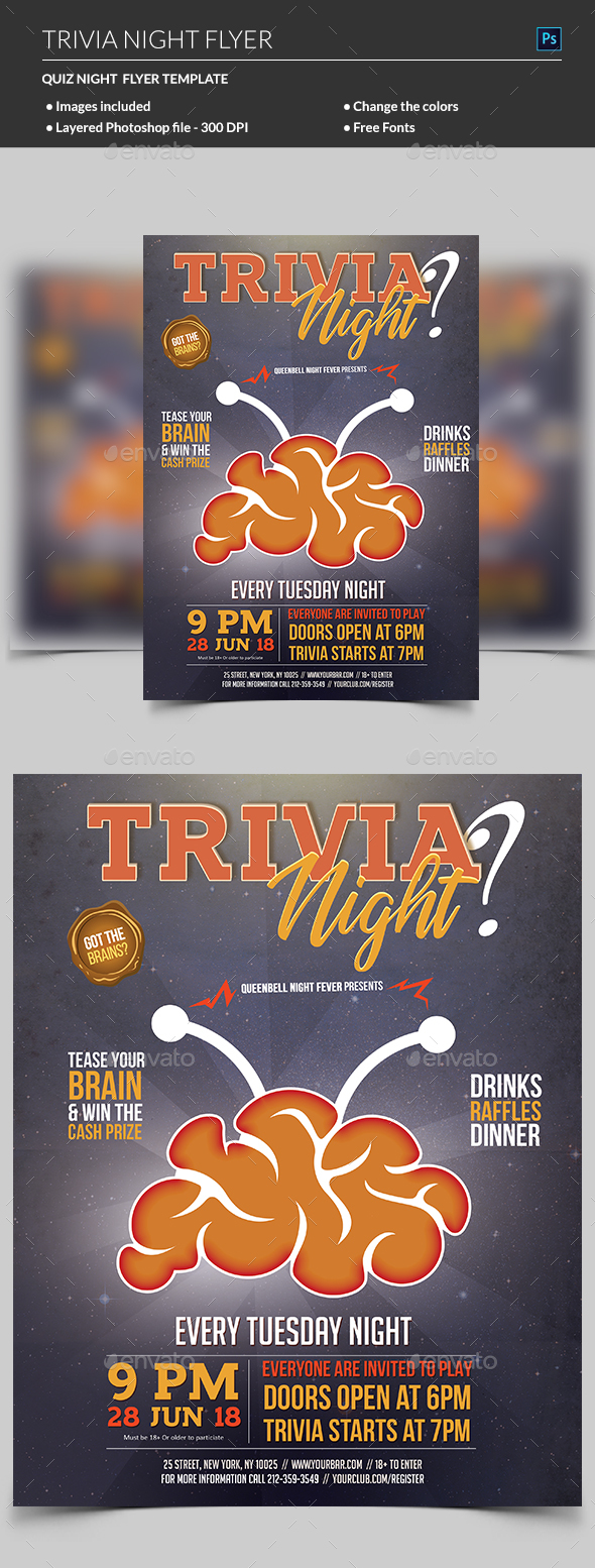 Trivia Night Flyer Template - Clubs & Parties Events