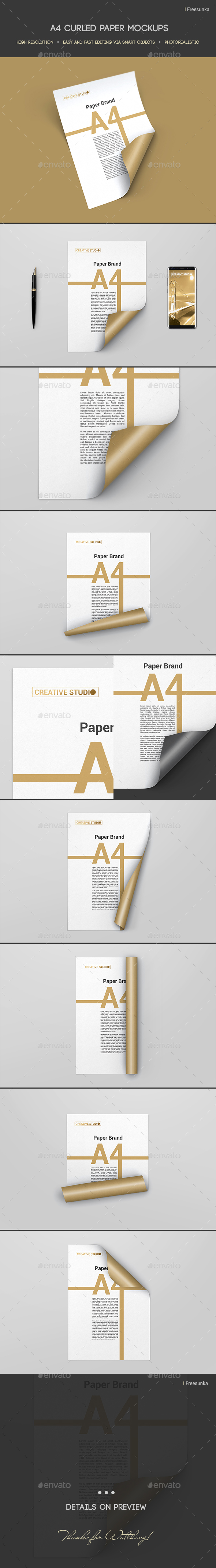 A4 Curled Paper Mockups - Posters Print