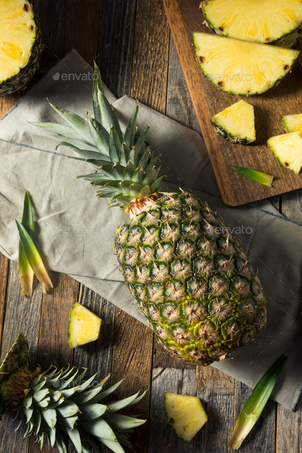 Raw Yellow Organic Pineapple Slices - Stock Photo - Images