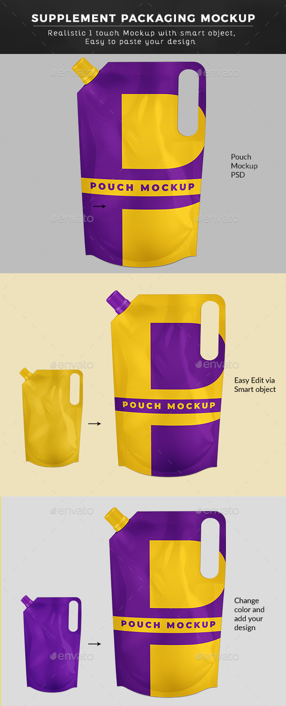 Stand Up Pouch W/ Spout And Handle Mockup - Food and Drink Packaging
