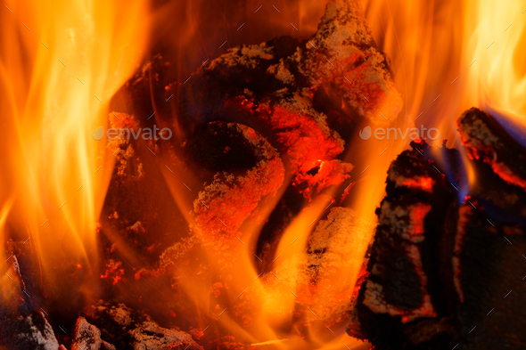 Closeup of flames and a red heat - Stock Photo - Images