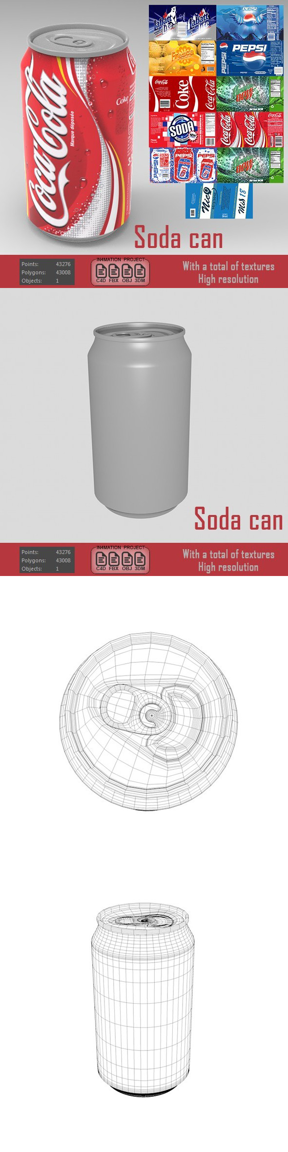 Soda can ( various types ) - 3DOcean Item for Sale