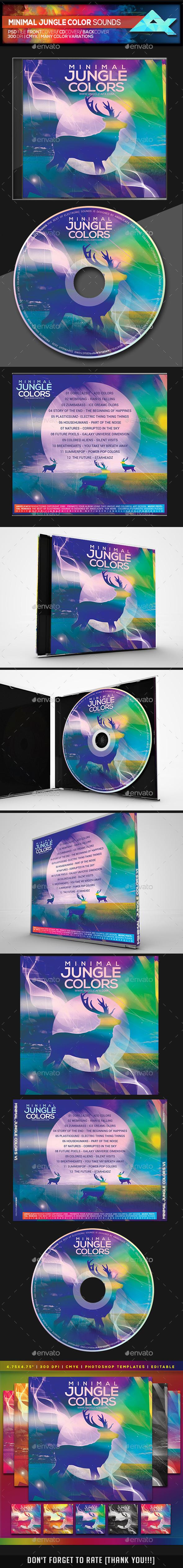 Minimal Jungle Color Sounds CD/DVD Photoshop Template - CD & DVD Artwork Print Templates