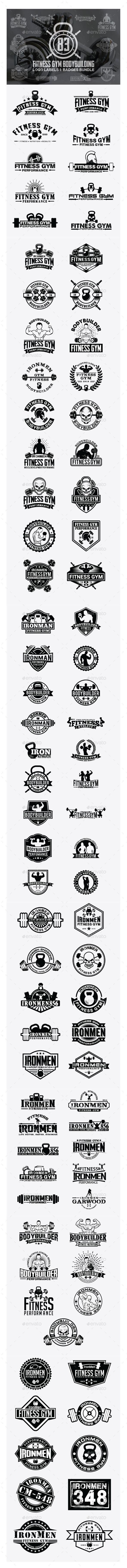 83 Fitness Gym- Badges -Logos Bundle - Badges & Stickers Web Elements