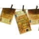 Euro Money Hanging on a Rope. Euro Banknote Pinning To the Laundry Dryer - VideoHive Item for Sale
