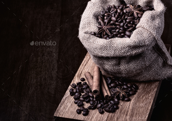 bag of black coffee beans - Stock Photo - Images