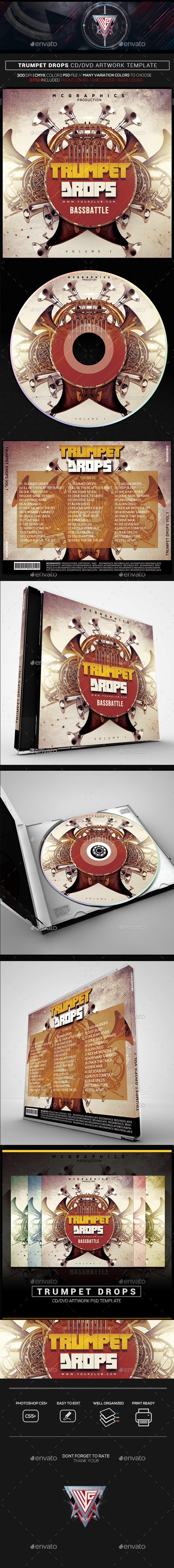 Trumpet Drops CD/DVD Template - CD & DVD Artwork Print Templates