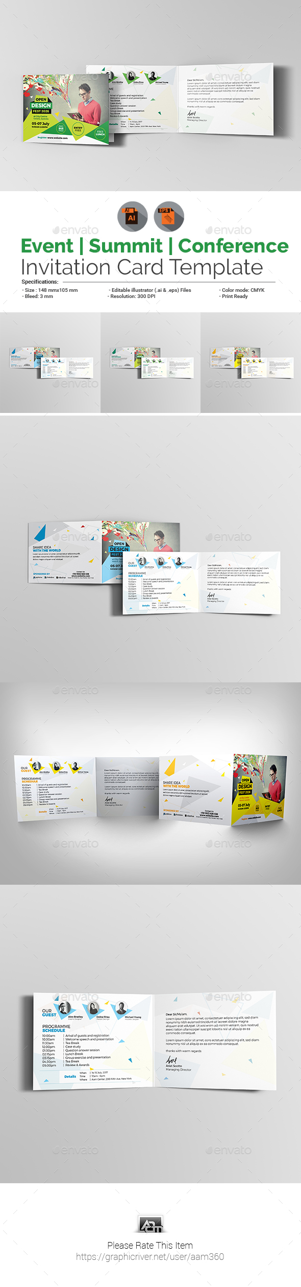 Event/Summit/Conference Invitation Card Template - Cards & Invites Print Templates