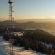 Flying Over Radio Tower in Mountains, Snow Covered Winter Landscape - VideoHive Item for Sale
