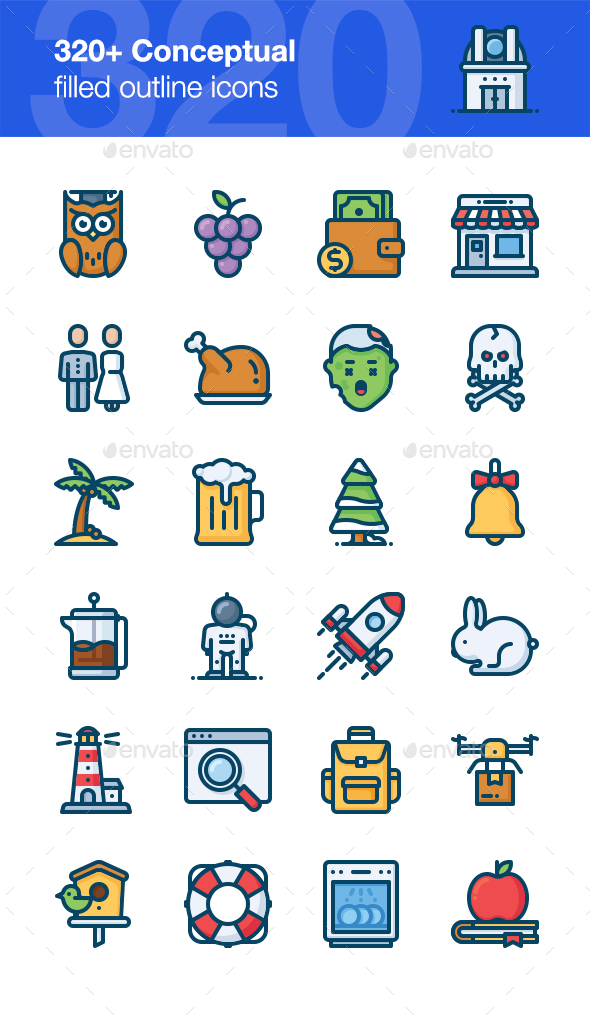320+ Conceptual Icons, Filled Outline Style - Miscellaneous Icons