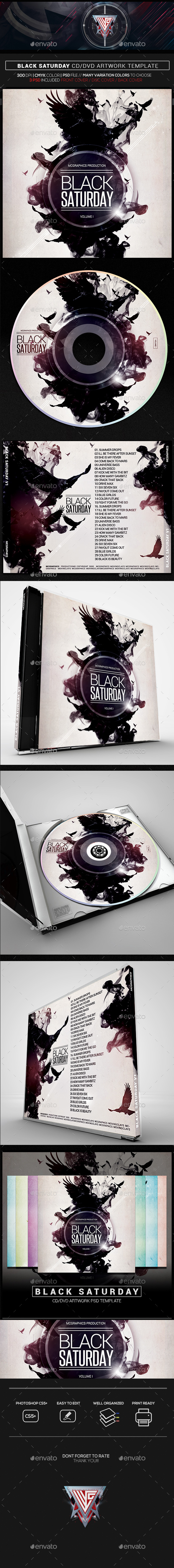 Black Saturday Music CD/DVD Template - CD & DVD Artwork Print Templates
