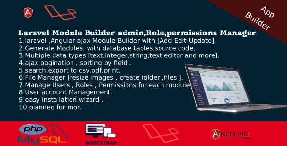 Laravel Admin Builder - Angular CRUD+Users,Roles,Permission +Files Manager - CodeCanyon Item for Sale