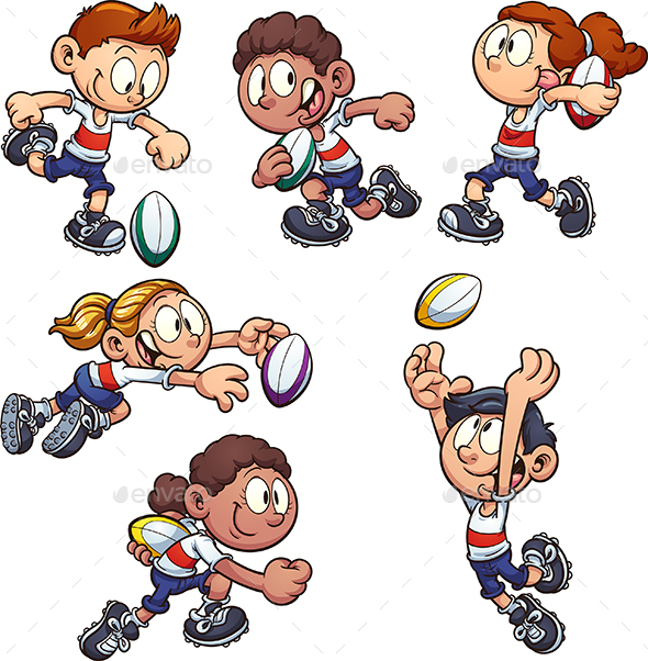Cartoon Kids playing Rugby - People Characters