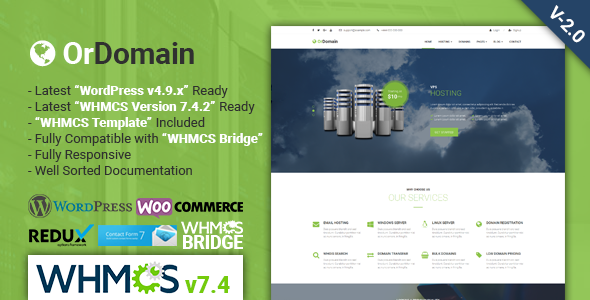 Image of OrDomain | Responsive WHMCS Hosting WordPress Theme