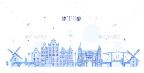 Amsterdam Skyline Netherlands Vector City Building - Buildings Objects