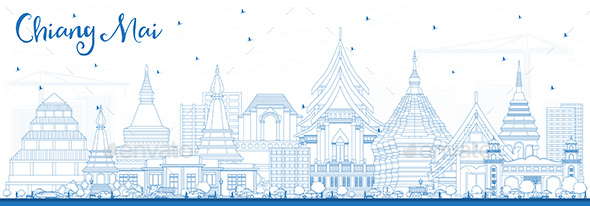 Outline Chiang Mai Thailand City Skyline with Blue Buildings. - Buildings Objects