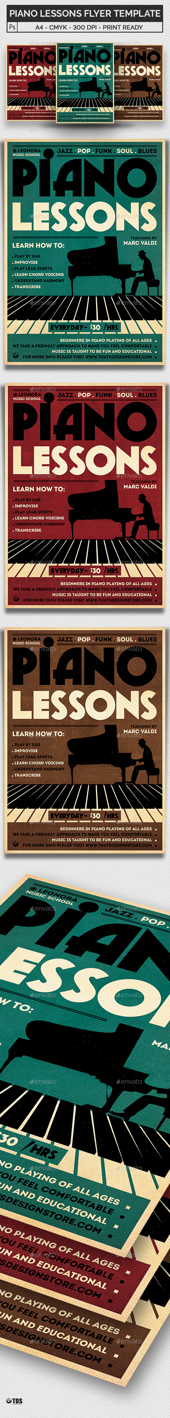 Piano Lessons Flyer Template - Concerts Events
