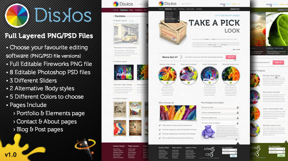 Diskos – Creative PSD Website Template