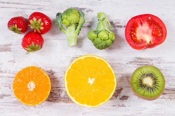 Fresh ripe fruits and vegetables as sources vitamin C, fiber and minerals - Stock Photo - Images